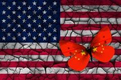 Σημαίες των ΗΠΑ και της Κίνας απεικόνιση αποθεμάτων