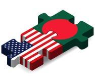 Σημαίες των ΗΠΑ και του Μπανγκλαντές στο γρίφο Στοκ Εικόνες