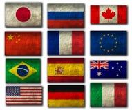 Σημαίες των τοπ εθνών Στοκ Εικόνες