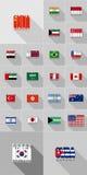 Σημαίες των χωρών Αμερική, Ασία, Αυστραλία, επίπεδο σχέδιο των επιστολών Στοκ εικόνες με δικαίωμα ελεύθερης χρήσης