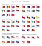 Σημαίες των χωρών του μεγάλου συνόλου σημαιών της Ευρώπης Στοκ φωτογραφία με δικαίωμα ελεύθερης χρήσης
