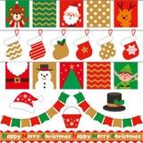 Σημαίες Χριστουγέννων και χαριτωμένοι χαρακτήρες Σύνολο διακοσμήσεων ελεύθερη απεικόνιση δικαιώματος