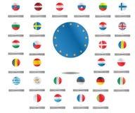Σημαίες χωρών ένωσης της Ευρώπης γύρω από το σύνολο εικονιδίων επίσης corel σύρετε το διάνυσμα απεικόνισης Στοκ φωτογραφίες με δικαίωμα ελεύθερης χρήσης