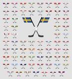Σημαίες χωρών λογότυπων Floorball Στοκ εικόνες με δικαίωμα ελεύθερης χρήσης