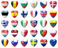 Σημαίες χωρών της Ευρωπαϊκής Ένωσης που τυλίγονται στην τρισδιάστατη καρδιά Στοκ εικόνα με δικαίωμα ελεύθερης χρήσης