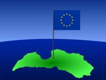 σημαιοστολίστε το χάρτη της Λετονίας διανυσματική απεικόνιση