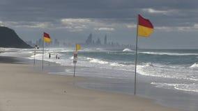 Σημαιοστολίζει την ένδειξη των φρουρών αποταμιευτών ζωής κυματωγών στην περίπολο, ξημερώματα Palm Beach, Queensland Αυστραλία απόθεμα βίντεο