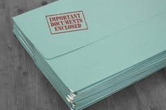 Σημαντικά έγγραφα φακέλλων εσωκλειόμενα Στοκ φωτογραφία με δικαίωμα ελεύθερης χρήσης