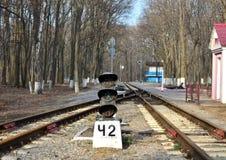 Σηματοφόρος στο σιδηρόδρομο, ράγες που πηγαίνουν στην απόσταση στοκ φωτογραφία