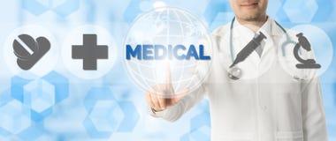 Σημεία γιατρών σε ΙΑΤΡΙΚΟ με τα ιατρικά εικονίδια Στοκ Εικόνες