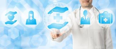 Σημεία γιατρών στα ιατρικά εικονίδια υγειονομικής περίθαλψης Στοκ Φωτογραφία