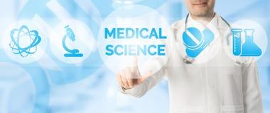 Σημεία γιατρών στην ΙΑΤΡΙΚΗ ΕΠΙΣΤΗΜΗ με το ιατρικό εικονίδιο Στοκ Εικόνες