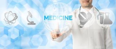 Σημεία γιατρών στην ΙΑΤΡΙΚΗ με τα ιατρικά εικονίδια Στοκ Εικόνα