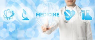 Σημεία γιατρών στην ΙΑΤΡΙΚΗ με τα ιατρικά εικονίδια Στοκ Εικόνες