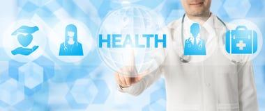 Σημεία γιατρών στην ΥΓΕΙΑ με τα ιατρικά εικονίδια Στοκ εικόνα με δικαίωμα ελεύθερης χρήσης