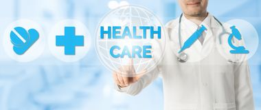 Σημεία γιατρών στην υγειονομική περίθαλψη, ιατρικά εικονίδια Στοκ φωτογραφία με δικαίωμα ελεύθερης χρήσης