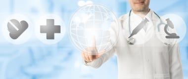 Σημεία γιατρών στο διάστημα αντιγράφων με τα ιατρικά εικονίδια Στοκ φωτογραφία με δικαίωμα ελεύθερης χρήσης