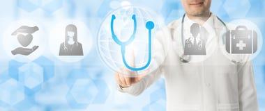 Σημεία γιατρών στο στηθοσκόπιο με τα ιατρικά εικονίδια Στοκ Εικόνες