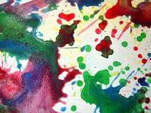 Σημεία κρητιδογραφιών Watercolor, υπόβαθρο μορφών αντίθεσης στα χρώματα κρητιδογραφιών Στοκ Φωτογραφίες