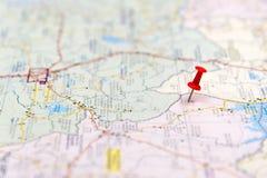 Σημεία προορισμού ταξιδιού σε έναν χάρτη Στοκ φωτογραφία με δικαίωμα ελεύθερης χρήσης
