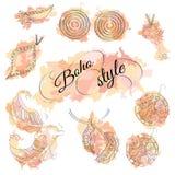 Σημεία watercolor ύφους Boho με τα κοσμήματα Στοκ Εικόνες