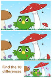Σημείο παιδιών ο γρίφος διαφοράς με ένα μικρό πουλί Στοκ Φωτογραφία