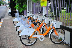 Σημείο υπηρεσιών ενοικίου ποδηλάτων Στοκ Φωτογραφίες