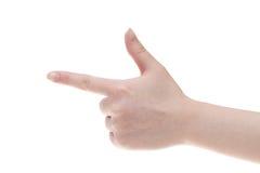 Σημείο χεριών γυναικών με το δάχτυλο Στοκ εικόνες με δικαίωμα ελεύθερης χρήσης
