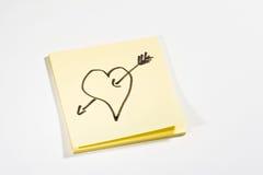 σημείωση αγάπης κολλώδης Στοκ Εικόνες