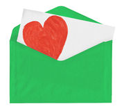 Σημείωση αγάπης στον πράσινο φάκελο Στοκ Φωτογραφία