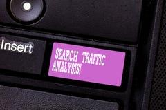Σημείωση γραψίματος που παρουσιάζει ανάλυση κυκλοφορίας αναζήτησης Λογισμικό ελέγχου εύρους ζώνης δικτύων επίδειξης επιχειρησιακώ στοκ εικόνες με δικαίωμα ελεύθερης χρήσης