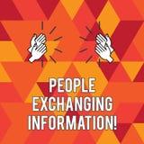 Σημείωση γραψίματος που παρουσιάζει ανθρώπους που ανταλλάσσουν τις πληροφορίες Επίδειξη επιχειρησιακών φωτογραφιών που περνά τις  ελεύθερη απεικόνιση δικαιώματος