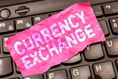 Σημείωση γραψίματος που παρουσιάζει ανταλλαγή νομίσματος Διαδικασία επίδειξης επιχειρησιακών φωτογραφιών ένα νόμισμα σε ένα άλλο  στοκ εικόνα