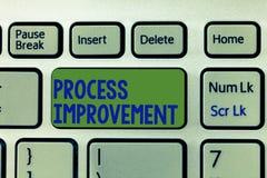 Σημείωση γραψίματος που παρουσιάζει βελτίωση διαδικασίας Η βελτιστοποίηση επίδειξης επιχειρησιακών φωτογραφιών ανταποκρίνεται στα στοκ εικόνα