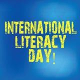Σημείωση γραψίματος που παρουσιάζει διεθνή ημέρα βασικής εκπαίδευσης Επιχειρησιακή φωτογραφία που επιδεικνύει το γιορτασμένο ετήσ ελεύθερη απεικόνιση δικαιώματος