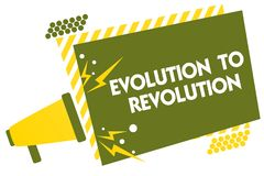 Σημείωση γραψίματος που παρουσιάζει εξέλιξη στην επανάσταση Να προσαρμοστεί επίδειξης επιχειρησιακών φωτογραφιών στον τρόπο για τ Στοκ Εικόνες