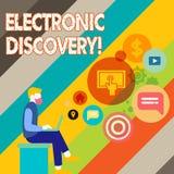 Σημείωση γραψίματος που παρουσιάζει ηλεκτρονική ανακάλυψη Ανακάλυψη  ελεύθερη απεικόνιση δικαιώματος