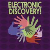 Σημείωση γραψίματος που παρουσιάζει ηλεκτρονική ανακάλυψη Ανακάλυψη  διανυσματική απεικόνιση