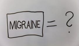Σημείωση γραψίματος που παρουσιάζει ημικρανία Επιχειρησιακή φωτογραφία που επιδεικνύει τον επαναλαμβανόμενο πονοκέφαλο σε μια πλε Στοκ εικόνα με δικαίωμα ελεύθερης χρήσης
