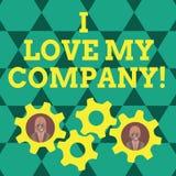 Σημείωση γραψίματος που παρουσιάζει Ι Love My Company Η επίδειξη επιχειρησιακών φωτογραφιών λέει γιατί θαυμάστε την εργασία και τ ελεύθερη απεικόνιση δικαιώματος