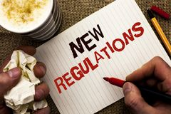 Σημείωση γραψίματος που παρουσιάζει νέους κανονισμούς Την αλλαγή επίδειξης επιχειρησιακών φωτογραφιών των εταιρικών προδιαγραφών  Στοκ Φωτογραφία