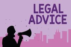 Σημείωση γραψίματος που παρουσιάζει νομική συμβουλή Άποψη δικηγόρων επίδειξης επιχειρησιακών φωτογραφιών για τη διαδικασία νόμου  διανυσματική απεικόνιση