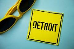 Σημείωση γραψίματος που παρουσιάζει Ντιτρόιτ Επιδεικνύοντας πόλη επιχειρησιακών φωτογραφιών στο κεφάλαιο των Ηνωμένων Πολιτειών τ στοκ εικόνες με δικαίωμα ελεύθερης χρήσης