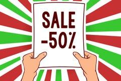 Σημείωση γραψίματος που παρουσιάζει πώληση 50 Επιχειρησιακή φωτογραφία που επιδεικνύει την τιμή promo Α ενός στοιχείου σε 50 mark Απεικόνιση αποθεμάτων
