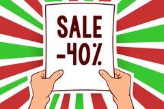 Σημείωση γραψίματος που παρουσιάζει πώληση 40 Επιχειρησιακή φωτογραφία που επιδεικνύει την τιμή promo Α ενός στοιχείου σε 40 mark Διανυσματική απεικόνιση