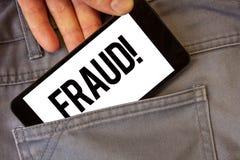Σημείωση γραψίματος που παρουσιάζει στην απάτη κινητήρια κλήση Επιχειρησιακή φωτογραφία που επιδεικνύει την εγκληματική εξαπάτηση Στοκ εικόνα με δικαίωμα ελεύθερης χρήσης