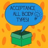 Σημείωση γραψίματος που παρουσιάζει στην αποδοχή όλους τύπους σώματος Ο αυτοσεβασμός επίδειξης επιχειρησιακών φωτογραφιών δεν κρί απεικόνιση αποθεμάτων