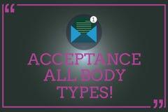 Σημείωση γραψίματος που παρουσιάζει στην αποδοχή όλους τύπους σώματος Ο αυτοσεβασμός επίδειξης επιχειρησιακών φωτογραφιών δεν κρί ελεύθερη απεικόνιση δικαιώματος