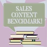 Σημείωση γραψίματος που παρουσιάζει στις πωλήσεις ικανοποιημένη συγκριτική μέτρηση επιδόσεων Περιεκτικότητα σε enablement πωλήσεω ελεύθερη απεικόνιση δικαιώματος
