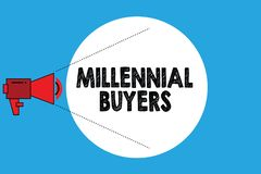 Σημείωση γραψίματος που παρουσιάζει χιλιετείς αγοραστές Τύπος επίδειξης επιχειρησιακών φωτογραφιών καταναλωτών που ενδιαφέρονται  διανυσματική απεικόνιση